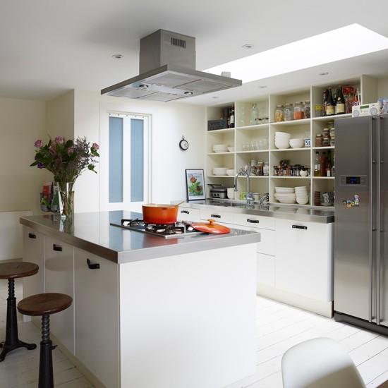 White Kitchen With Stainless-steel Worktop