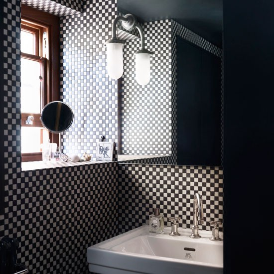 black and white micro check bathroom urban hotel style bathroom
