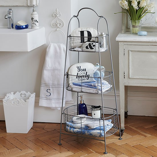 wire caddy bathroom store next to bathroom sink and sideboard