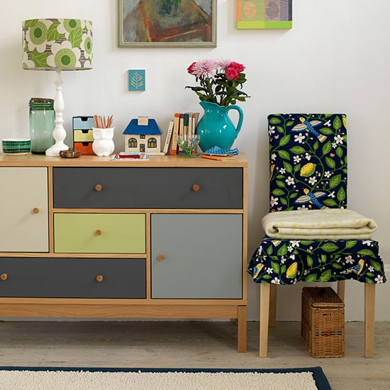 living room with colour block sideboard small country