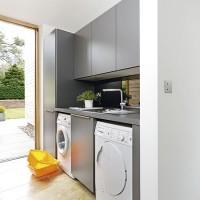 Modern grey utility room with minimalist aesthetic