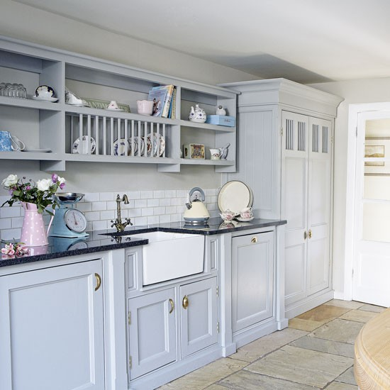 Pale blue country kitchen decorating for Fitted kitchen cabinets
