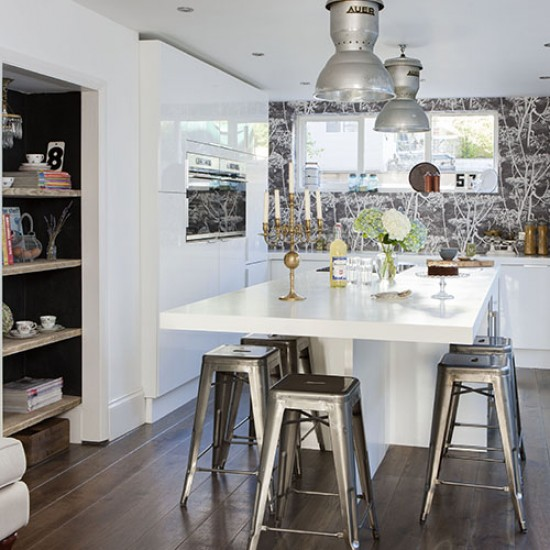 White Kitchen With Industrial Style Steel Stools Modern