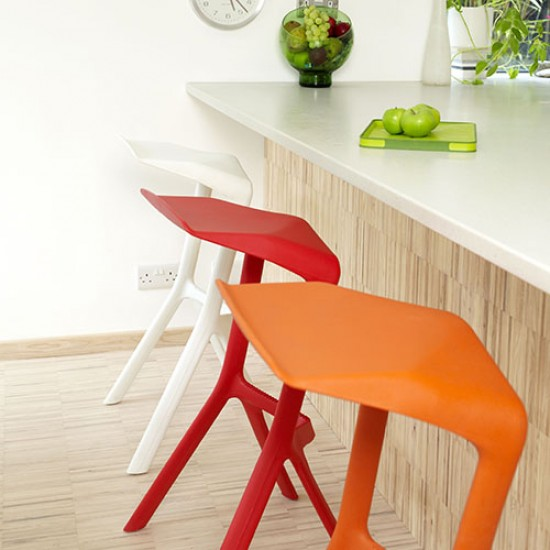 White Kitchen With Orange And Red Breakfast Bar Stools