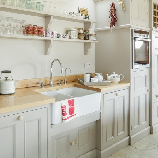 Country kitchen with french farmhouse sink makeover for Grey country kitchen