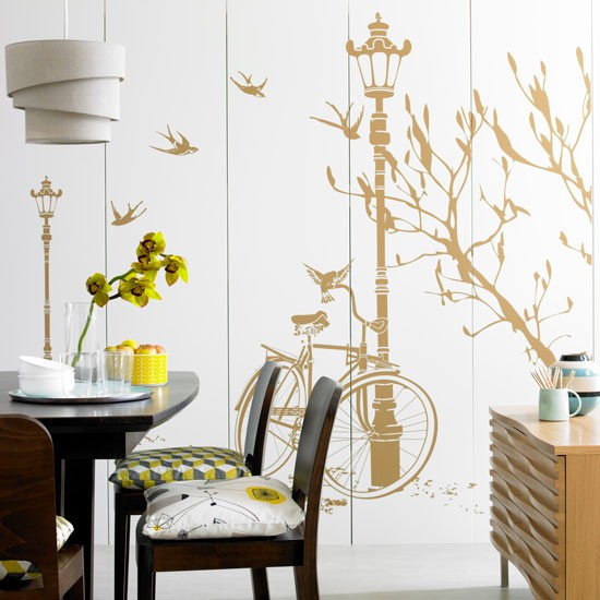 Dining Room With Giant Decorative Wall Sticker Rented Property Decorating I
