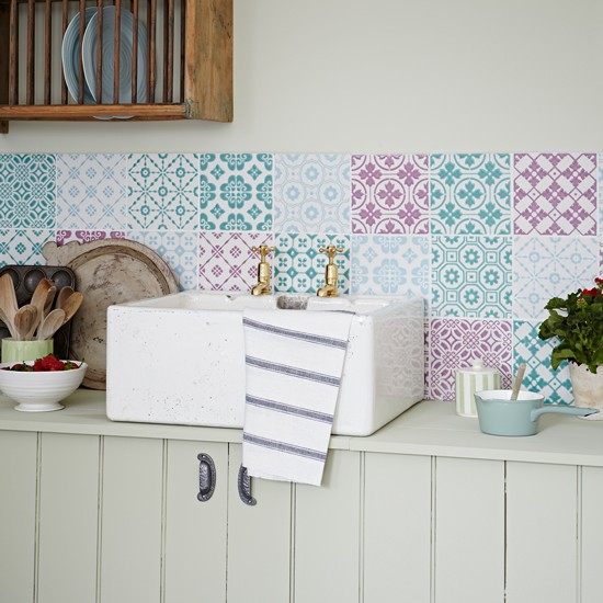 Kitchen With Pastel Coloured Patchwork Tiles Decorating Autumn Pastels