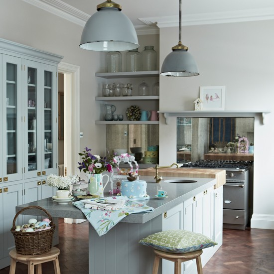 Country kitchen with pastel blue painted cabinetry  Decorating with