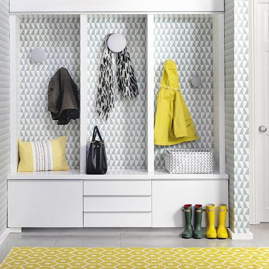 Hallway Storage With Geometric Yellow Rug