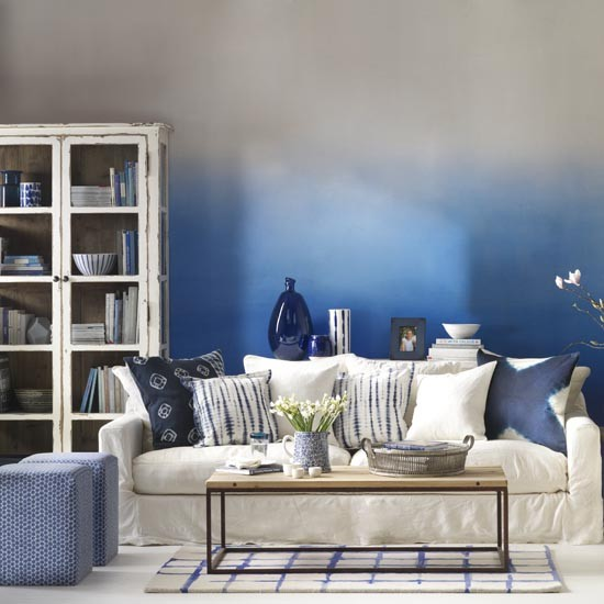 Family Living Room With Blue And White Ombre effect Wall