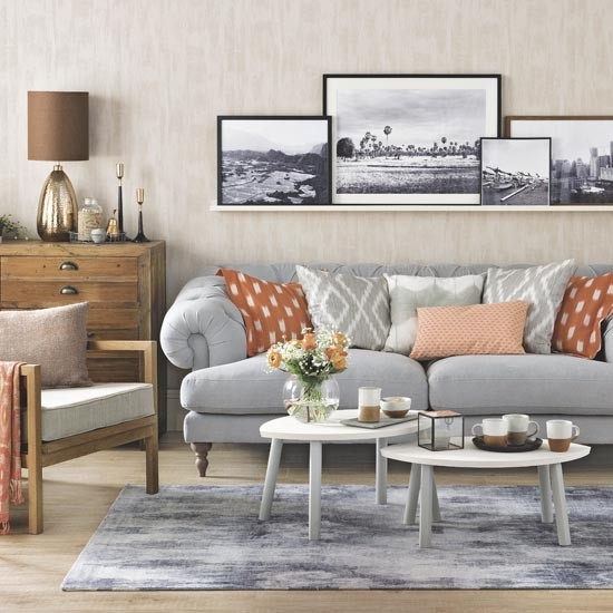 Grey and orange living room family living room design for Grey and orange living room ideas
