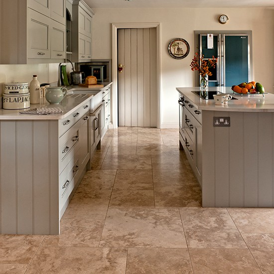 Neutral kitchen with travertine floor tiles kitchen for Kitchen flooring ideas uk