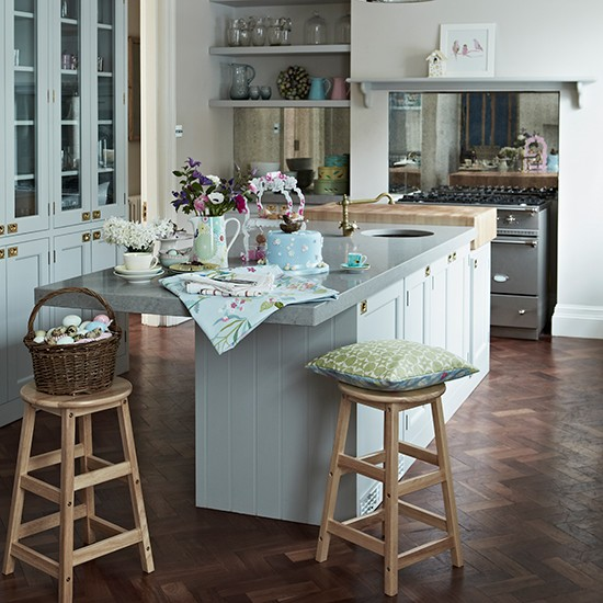 Pale blue kitchen with parquet flooring kitchen flooring for Kitchen flooring ideas uk