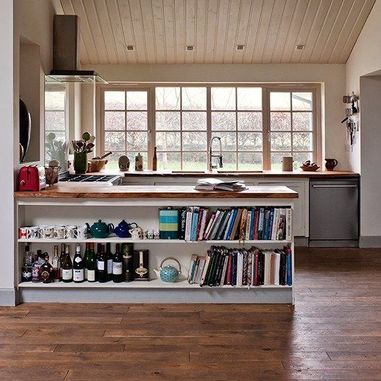 Vintage style kitchen with reclaimed wood floor kitchen for Kitchen flooring ideas uk