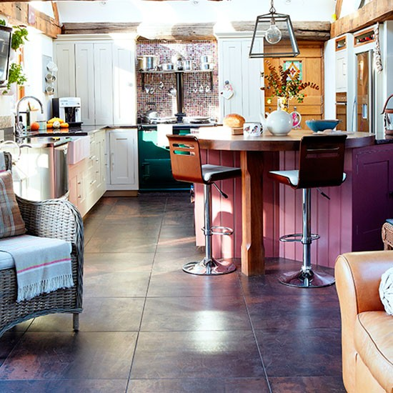 Colourful Kitchen With Slate Floor