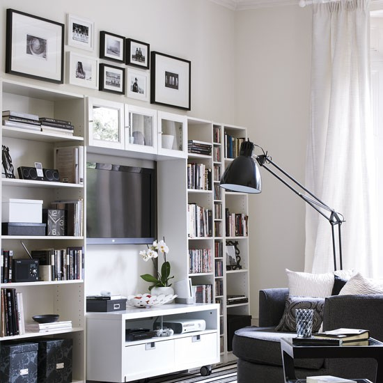 Monochrome living room with modular media unit living for Storage solutions living room