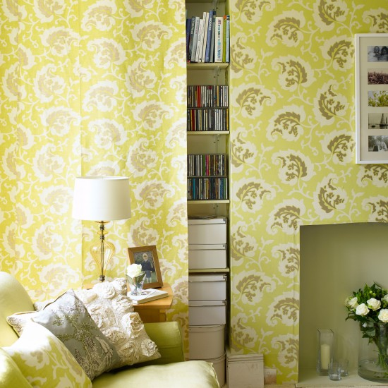 Lime Green Living Room With Hidden Storage Living Room Storage Ideas