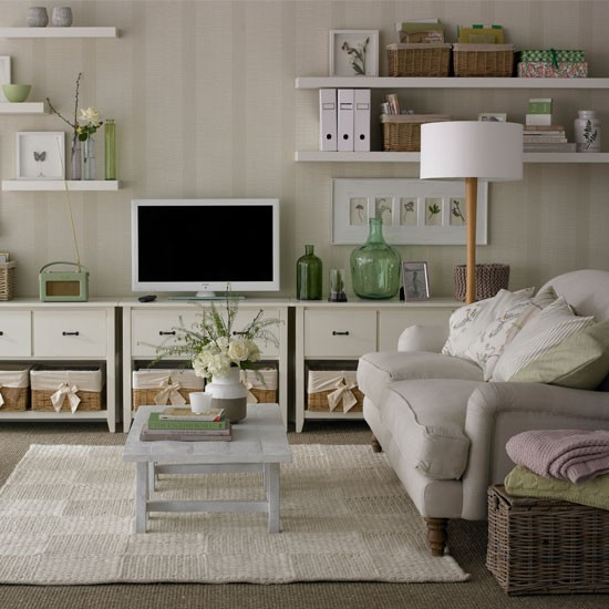 35 Home Storage Ideas Room By Room: White Living Room With Basket Storage