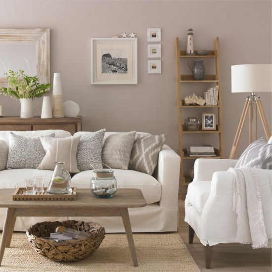 Neutral living room with ladder shelf living room for Decoracion de living pequenos