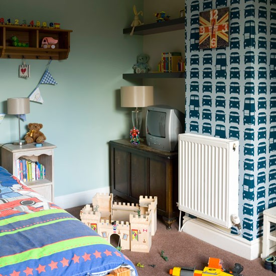 Boys' Bedroom With Feature Wallpaper