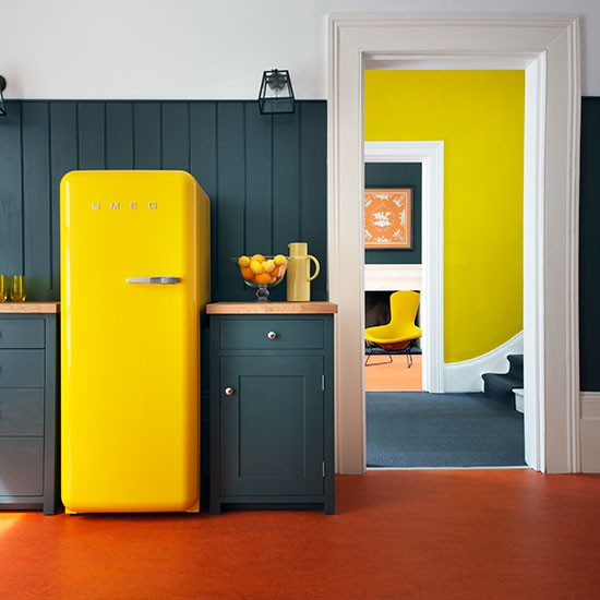 Yellow and grey kitchen decorating with bright colours for Home decor yellow and gray
