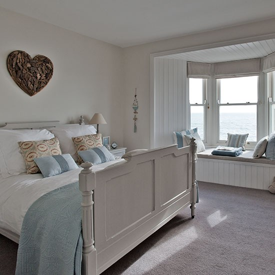 New england style bedroom with heart wall art step for Beautiful main bedrooms
