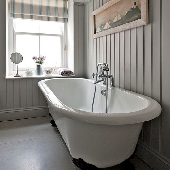 Grey Bathroom With Roll Top Bath Step Inside This Modern Country Home In Cornwall House Tour