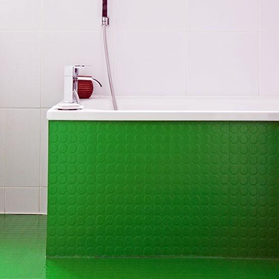 Bathroom with bright green bath panel easy ways to add for Bright green bathroom ideas