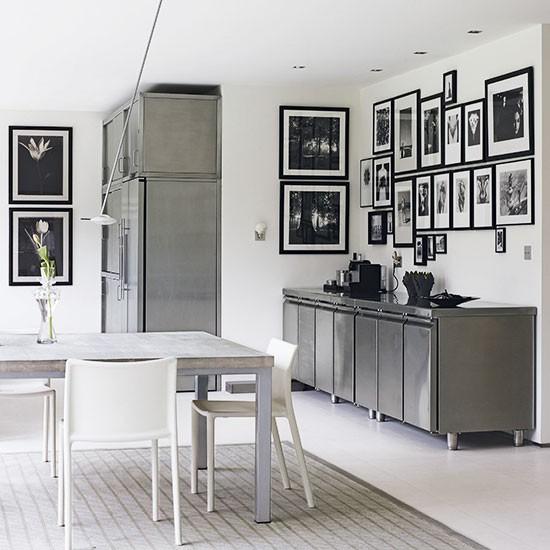 Industrial monochrome kitchen freestanding kitchen for Industrial style kitchen uk
