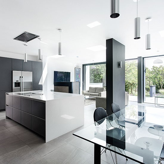 Modern grey and white kitchen open plan kitchen design for Modern kitchen plan