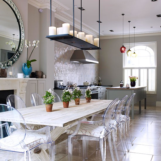 Classic and grand kitchen diner open plan kitchen design for Kitchen ideas long kitchen