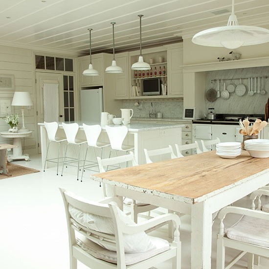 Rustic Open Kitchen: Rustic Whitewashed Kitchen