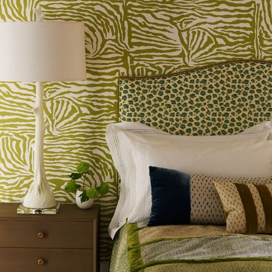 animal print bedroom in shades of green decorating with vintage style bedroom with pretty prints bedroom