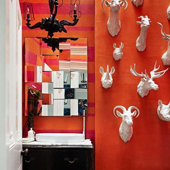 Orange Cloakroom With Animal Head Feature Wall Country