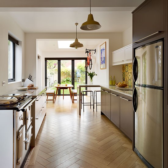 Galley kitchen with parquet flooring be inspired by a vibrant retro 1960s family kitchen - Retro flooring kitchen ...