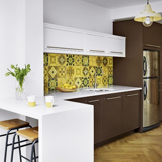 Brown And White Kitchen With Retro Tiles