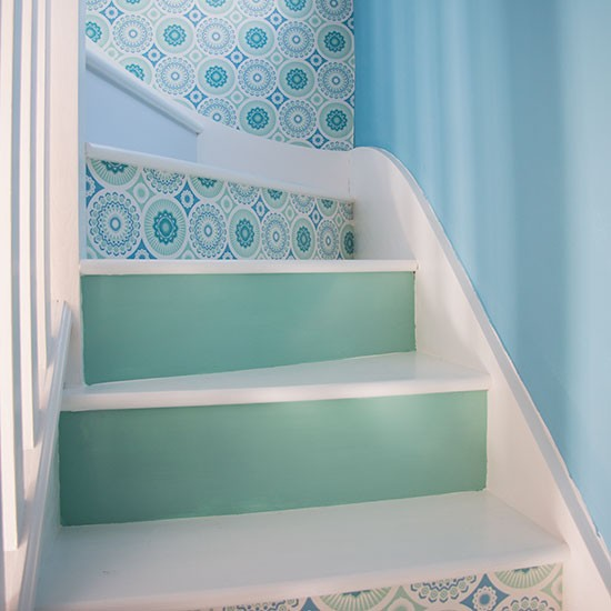 10 Eye Catching Staircase Designs For Unique Home Decor: Blue And Green Hallway Staircase