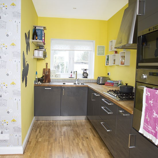 Yellow and grey kitchen decorating for Grey yellow kitchen ideas