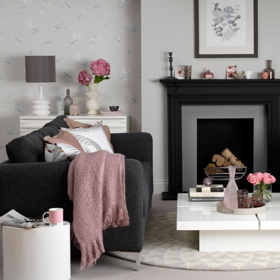 Modern Living Room With A Black Sofa Decorating With Darker Colours Decorating Housetohome
