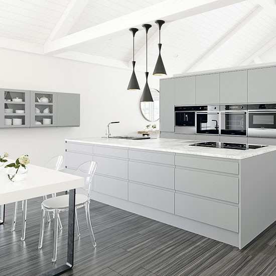 Grey And White Kitchen With Pendant Light Trio