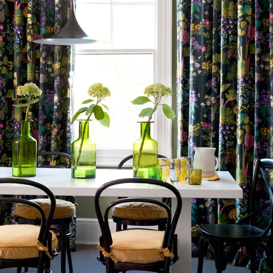 Dining Room With Black Floral Curtains Decorating With