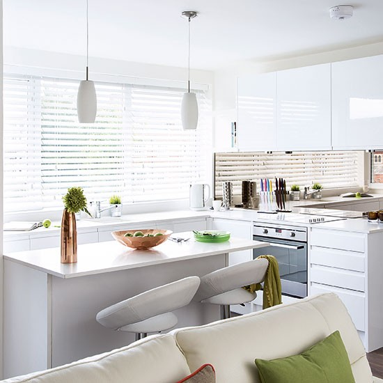 Modern White Gloss Kitchen Decorating