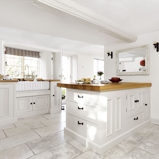 White country-style kitchen with peninsula  Kitchen decorating ...