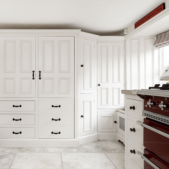 White Country Kitchen With Larder Cupboard Decorating