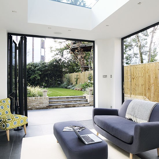 Modern Living Room With Bi Fold Doors Decorating