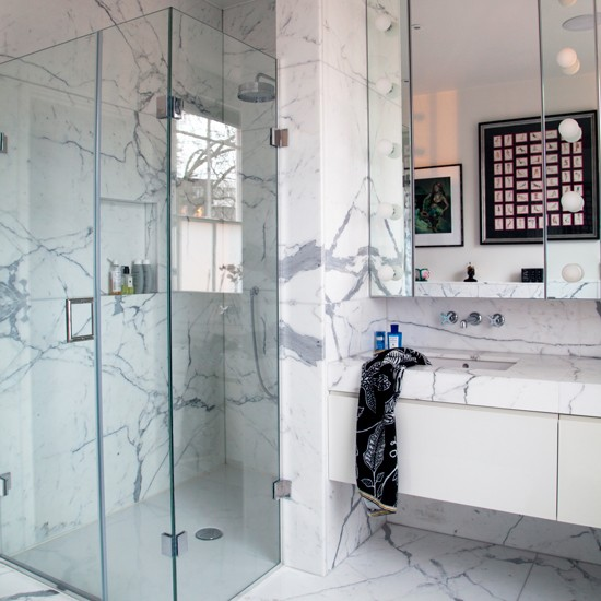 Marble clad bathroom with walk in shower take a tour for Bathroom design north london