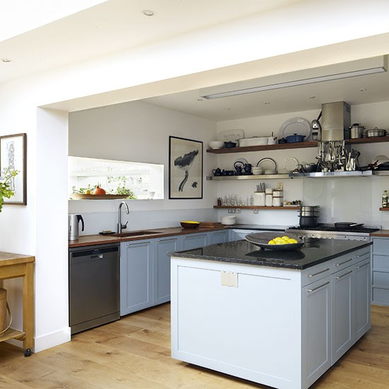 Blue Kitchen London: Pale Blue Kitchen With Open Shelving