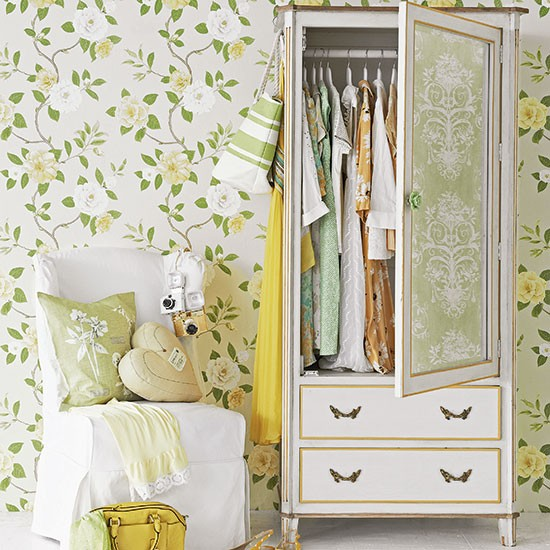 Floral Bedroom With Painted Wardrobe