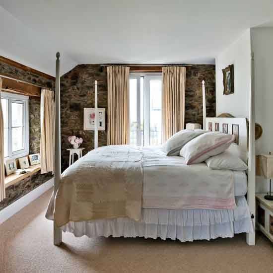 Country Bedroom With White Four Poster Bed Step Inside
