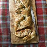 Sausage and tomato plait